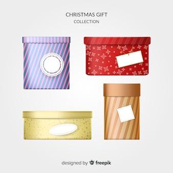 Collection de boîtes de cadeaux de noël réalistes