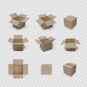 Collection de boîtes sur fond transparent. carton contenant ouvert et fermé. ensemble d'emballage marron.