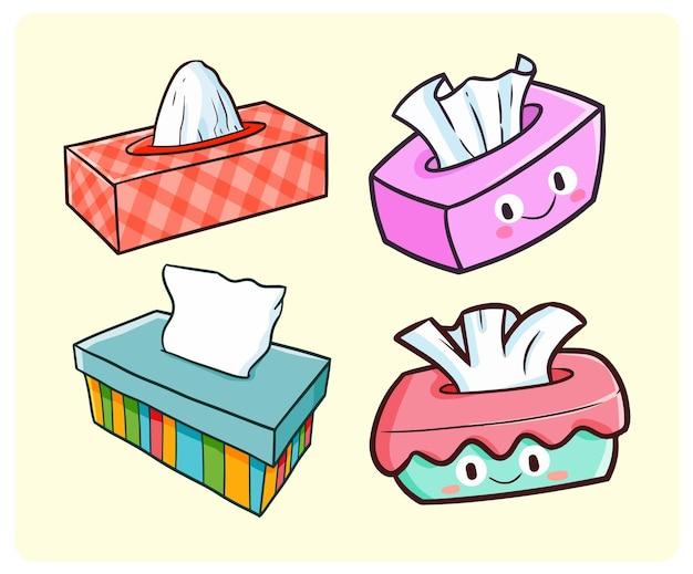Collection de boîtes de mouchoirs drôles dans un style doodle kawaii