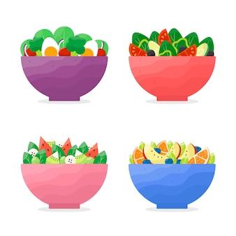 Collection de bols à fruits et salades