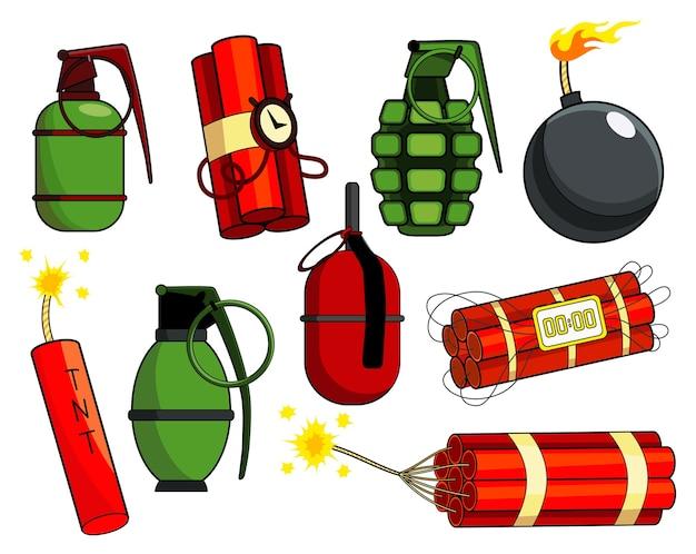 Collection de bombes pop art dans un style rétro comique