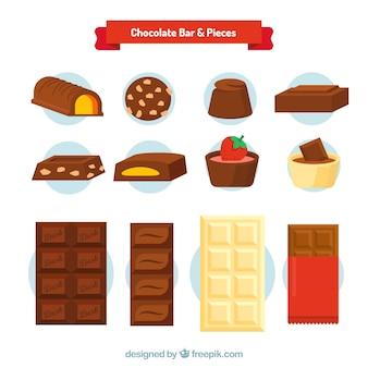 Collection de bonbons et de barres au chocolat