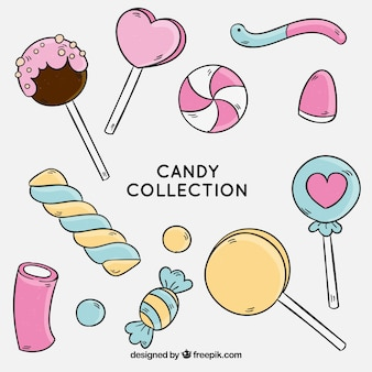Collection de bonbons colorés dans un style dessiné à la main