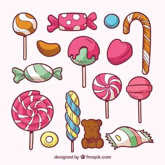 Collection de bonbons colorés dans un style dessiné à la main