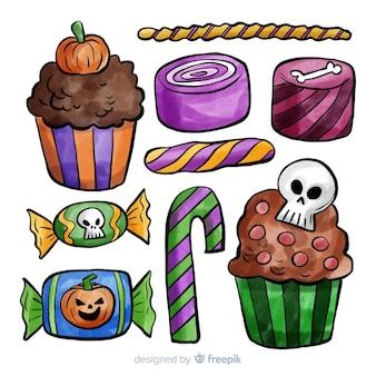 Collection de bonbons colorés de halloween aquarelle