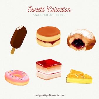 Collection de bonbons délicieux dans un style aquarelle