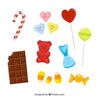 Collection de bonbons délicieux dans un style plat