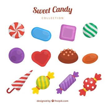 Collection de bonbons délicieux avec différentes couleurs
