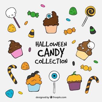 Collection de bonbons et gâteaux à la main à la main