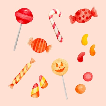 Collection de bonbons halloween aquarelle