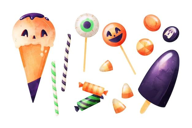 Collection de bonbons halloween aquarelle