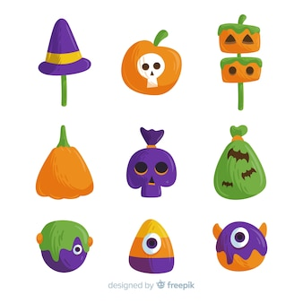 Collection de bonbons d'halloween colorés dessinés à la main