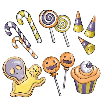 Collection de bonbons halloween design aquarelle