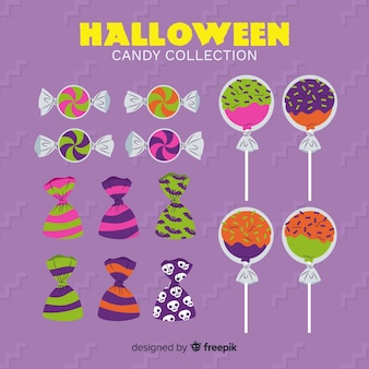 Collection de bonbons d'halloween sur design plat