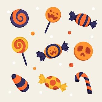 Collection de bonbons halloween design plat
