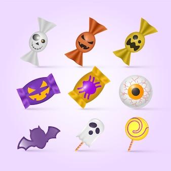 Collection de bonbons halloween design réaliste