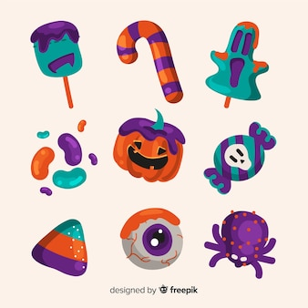 Collection de bonbons d'halloween dessinés à la main