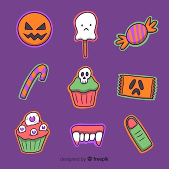 Collection de bonbons halloween dessinés à la main