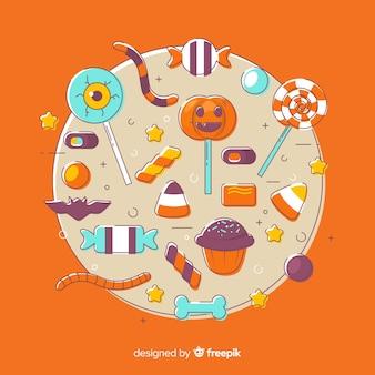 Collection de bonbons halloween dessinés à la main
