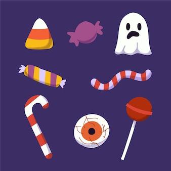 Collection de bonbons d'halloween dessinés à la main