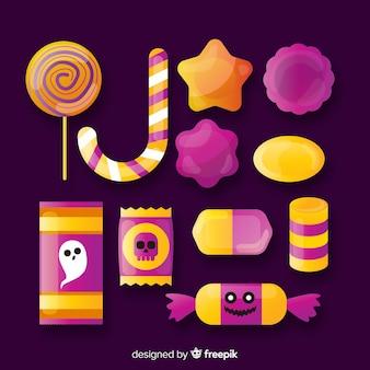 Collection de bonbons halloween plat