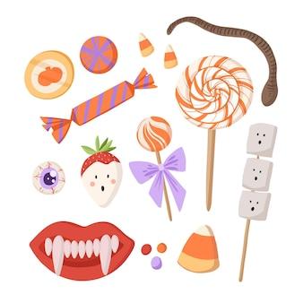 Collection de bonbons d'halloween plat