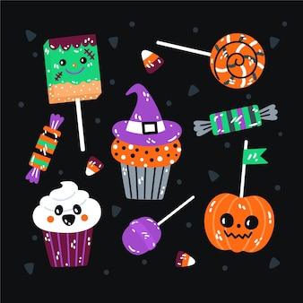 Collection de bonbons halloween plats dessinés à la main