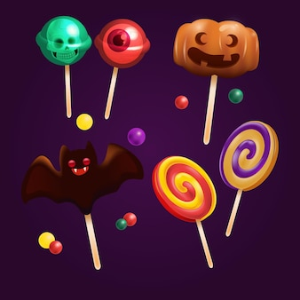 Collection de bonbons d'halloween réaliste