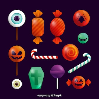 Collection de bonbons d'halloween réalistes
