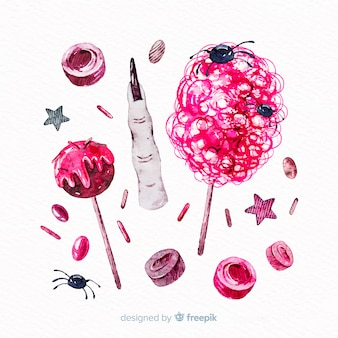 Collection de bonbons halloween style aquarelle