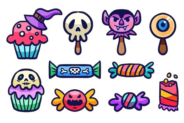 Collection de bonbons d'halloween de style dessiné à la main