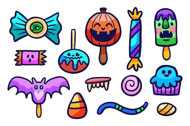 Collection de bonbons d'halloween style dessiné à la main