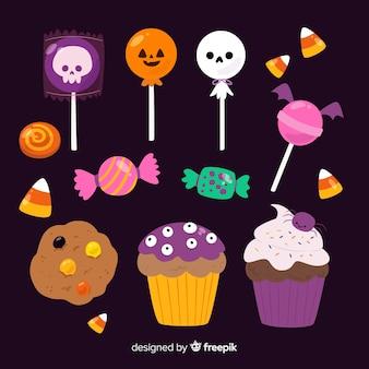 Collection de bonbons hallween sur design plat