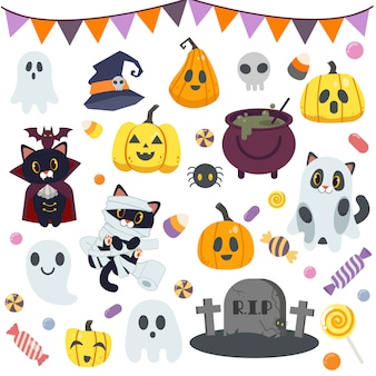 Collection de bonbons mignons en fête d'halloween