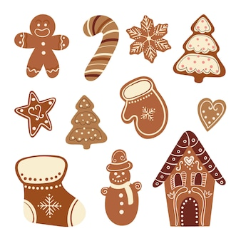 Collection de bonbons de noël avec pain d'épice décoratif isolé