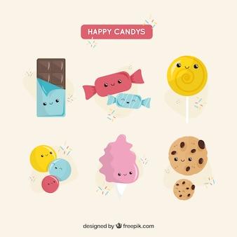 Collection de bonbons avec des visages mignons