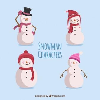 Collection de bonhomme de neige avec différents chapeaux