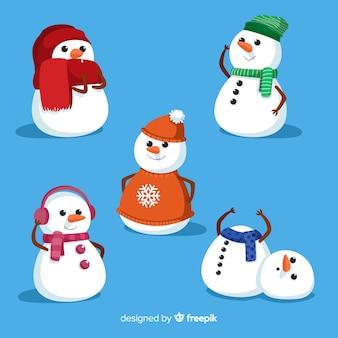 Collection de bonhomme de neige mignonne