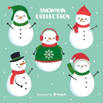 Collection de bonhommes de neige mignons