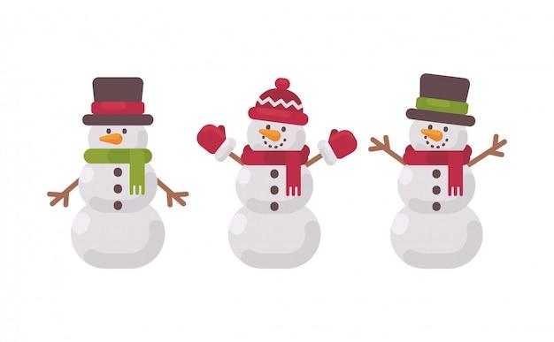 Collection de bonhommes de neige de noël.
