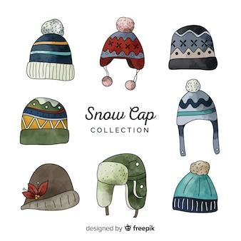 Collection de bonnets d'hiver dessinés à la main