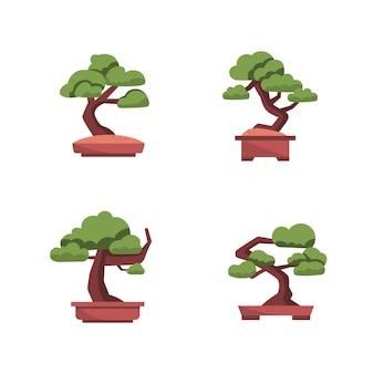 Collection de bonsaï au design plat