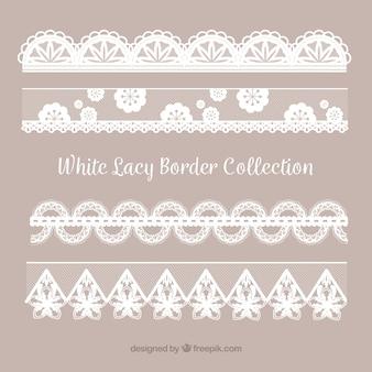 Collection de bordure en dentelle dans un design plat