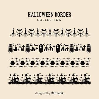 Collection de bordure halloween plat