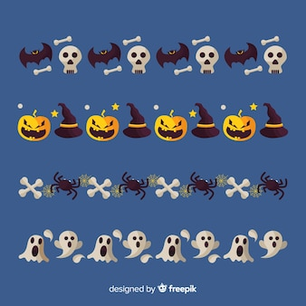 Collection de bordure halloween plat