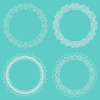 Collection de bordures circulaires en forme de dentelle