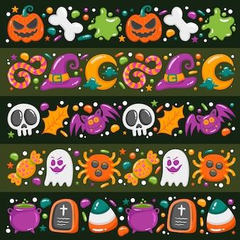 Collection de bordures d'halloween dessinées à la main