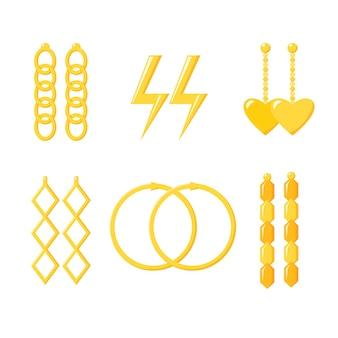 Collection boucles d'oreilles dorées bagues chaîne en or accessoires coeur éclair parure de bijoux vecto