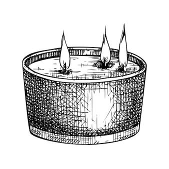 Collection de bougies aromatiques dessinées à la main de bougies en cire allumées