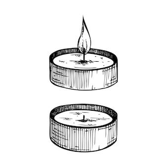 Collection de bougies aromatiques esquissées à la main de bougies de paraffine allumées